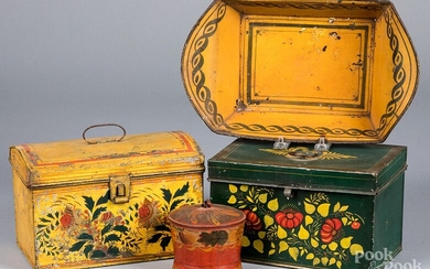 Four pieces of toleware, 19th c.