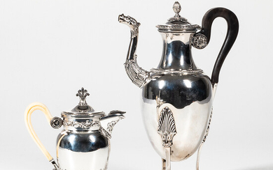 French Sterling Silver Footed Coffeepot and Small Teapot