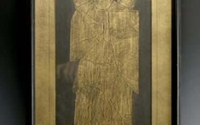 GOLD RUBBING OF KNIGHT WITH SWORD