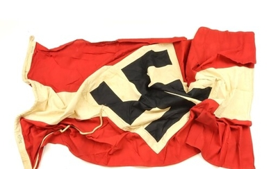 German HJ large multi part made flag, service worn, well mar...