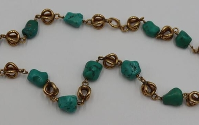 JEWELRY. 14kt Gold and Turquoise Nugget Necklace.