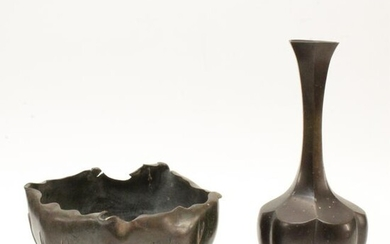 Japanese Bronze Vase and Bowl