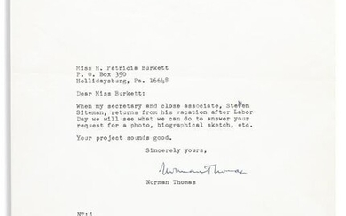 (LABOR.) THOMAS, NORMAN. Two Typed Letters Signed, to