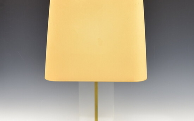 Large brass table lamp with plexi glass spacer and fabric...
