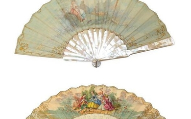 Late 19th/Early 20th Century Mother-of-Pearl Fan, painted with a scene...
