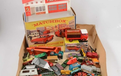 Loose and boxed die-cast models, including Matchbox G-10 fire Station Set