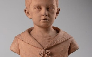 Louis Robyn (1835-1912) - Sculpture, bust of a young child - 45 cm (1) - Terracotta - Late 19th century