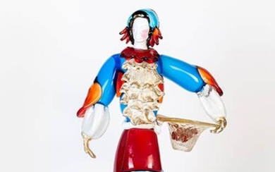 MURANO MANUFACTURE Woman in Traditional Venitian Costume, Early 1980 Entirely...