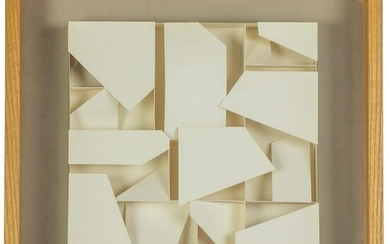 Modern Abstract Signed 3D Paper Collage Sculpture