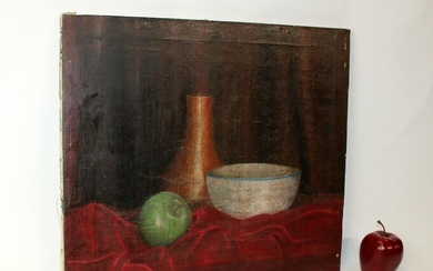 Oil on canvas painting still life with vase & apple