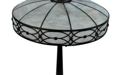 Original Table Lamp, Lead Glass Shade, Base with Acorn