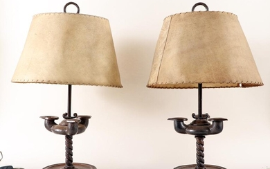 PAIR IRON ARTS AND CRAFTS STYLE TABLE LAMPS