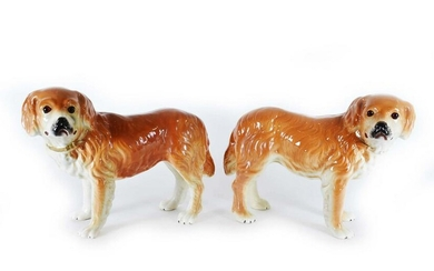 PAIR OF LARGE STAFFORDSHIRE EARTHENWARE LABRADORS