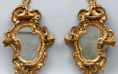 Paar Konsolspiegelchen / pair of frames with wall consoles