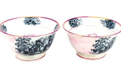 Pair 19th C Luster Ware Transfer Ware Bowls