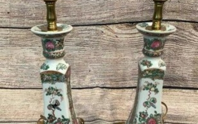 Pair Famille Candlestick Lamps