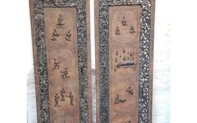 Pair of Antique Burmese carved teak, black and red lacquer p...