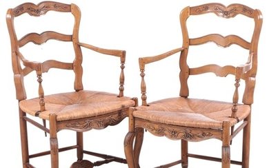 Pair of French Provincial Style Hardwood Armchairs