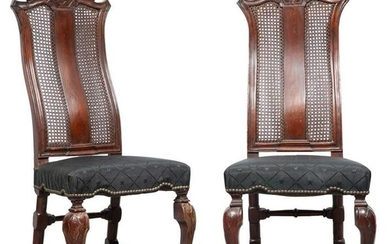 Pair of North European Baroque Walnut and Oak Side