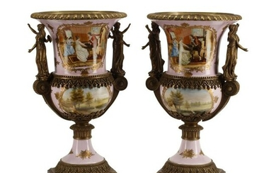Pair of Sevres Style Dore Bronze Mounted Urns.