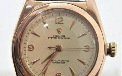 Solid 14k Rose Gold ROLEX Bubble Back Automatic Watch