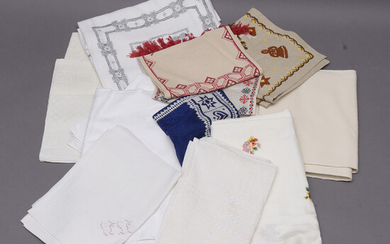 TABLECLOTHS, 15 pcs, linen, damask, embroidered.