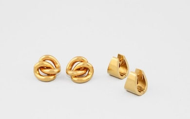 TWO PAIR OF GOLD EARRINGS