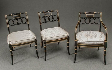 Ten Regency Style Partial Gilt Ebonized Wood Dining Chairs, Baker Furniture Co., Historic Charleston Collection, Post 1950