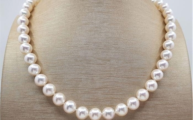 Top grade AAA 9x9.5mm Akoya Pearls - 14 kt. White gold