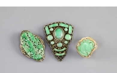 Two Chinese jadeite and gilt metal clips, first half 20th ce...