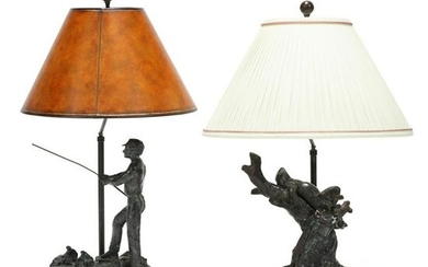 Two Maitland Smith Bronze Golf Themed Table Lamps