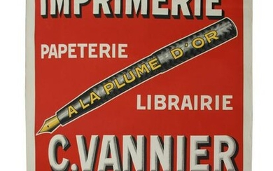 VINTAGE FRENCH FOUNTAIN PEN ADVERTISING POSTER