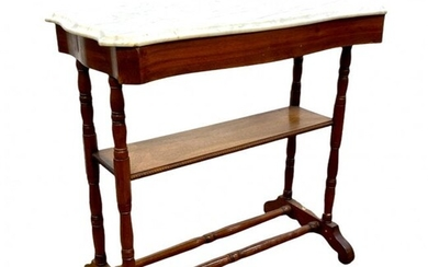 Victorian Walnut Marble Top Side Table