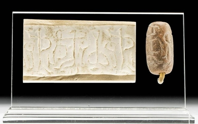 W. Asiatic Stone Cylinder Seal Bead Anthropomorphic