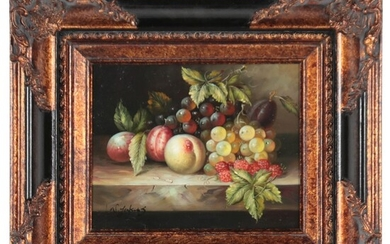 W. Jenkins Still Life Oil Painting of Fruits, Late 20th Century