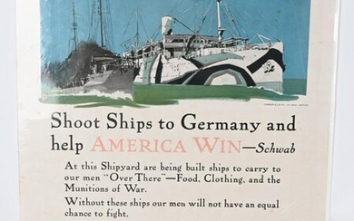 WWI US NAVY SHOOT SHIPS TO GERMANY WAR POSTER WW1