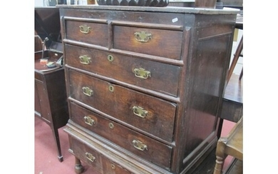 XVII Century and Later Joined Oak Chest, on stand with two s...