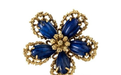 YELLOW GOLD AND LAPIS LAZULI FLOWER RING