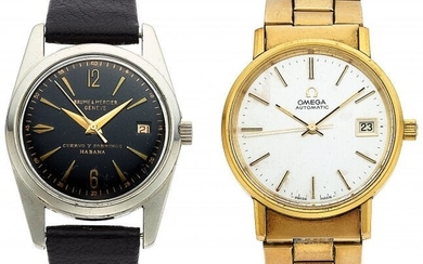 54304: Lot of 2 Vintage Watches: Omega gold plated, aut
