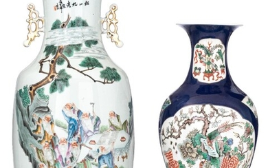 A Chinese bleu poudré and famille verte baluster vase, 19thC, H 45 cm. Added a famille rose vase, Republic period, H 56,5 cm