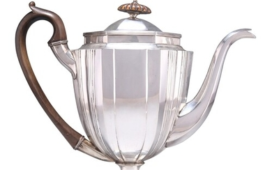 A GEORGE III SCOTTISH SILVER COFFEE POT, by George McHattie,...