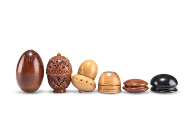 A GROUP OF 19TH CENTURY TREEN, comprising: A CARVED COQUILLA...
