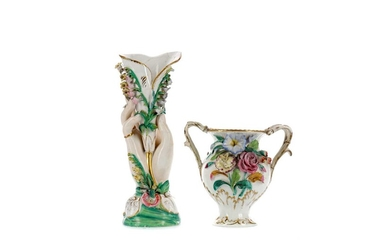 A LATE 19TH CENTURY CONTINENTAL PORCELAIN SPILL VASE, ALONG WITH ANOTHER