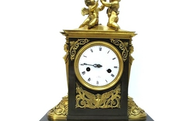 A Late XIX Century French Ormolu and Bronze Mantel Clock, th...