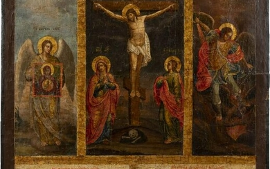 A MONUMENTAL ICON SHOWING THE CRUCIFIXION OF CHRIST