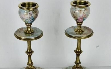 A PAIR OF 19TH C. VIENNESE ENAMEL CANDLESTICKS