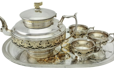 A Silver Enamelled Tea Set in the Russian style by C J Vander, Sheffield 1994 Including a tea...