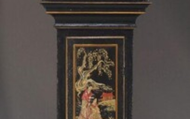 A Victorian Chinoiserie longcase clock by William Flint of Ashford, the plain square hood with glazed door flanked by column supports, the trunk decorated with figural scene, on plinth base, the white painted dial, with Roman and Arabic numeral...