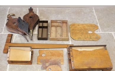 A collection of artists palettes, early 20th century, two wo...