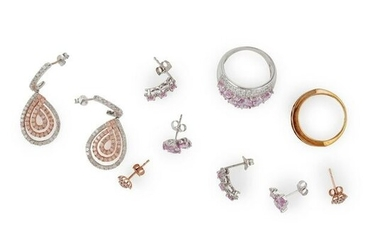 A collection of diamond and pink sapphire jewellery